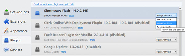 Enable Adobe Flash In Mozilla Firefox
