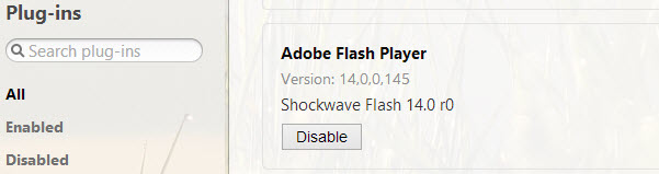Enable Adobe Flash in Opera